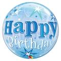 BDAY BLUE STARBURST SPARKLE - bubble balon